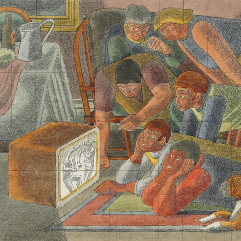 Image: William Roberts RA (1895-1980), Study for TV, 1960 (detail) © The Estate of John David Roberts. Reproduced with the permission of the William Roberts Society.