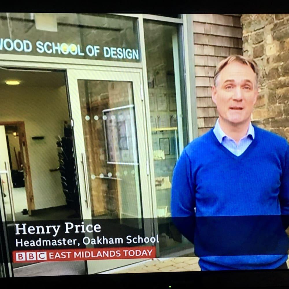 Henry Price, Headmaster, outside the Jerwood School of Design, Oakham