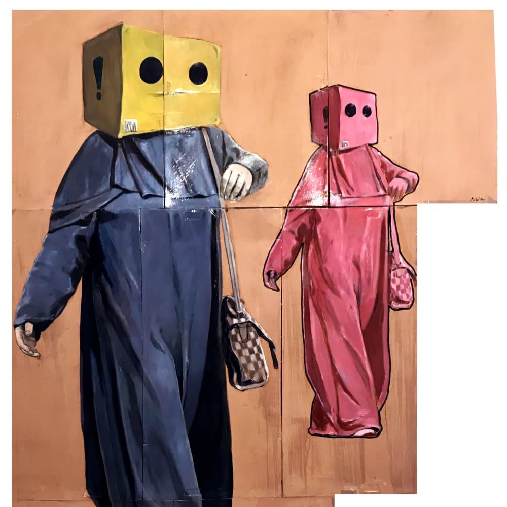 Mohamed Said Chair l The Ladies l 2018 l Oil and Vinyl glue on cardboard l 205x145cm