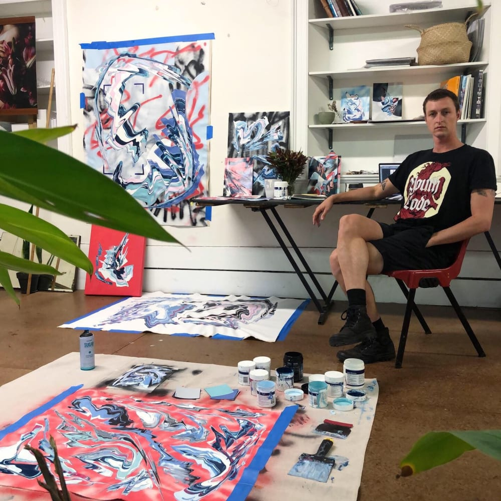 J Jermyn in his Tasmania Studio