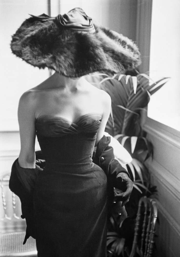 Mark Shaw, Dior Gown with Fur Hat, Paris, 1954