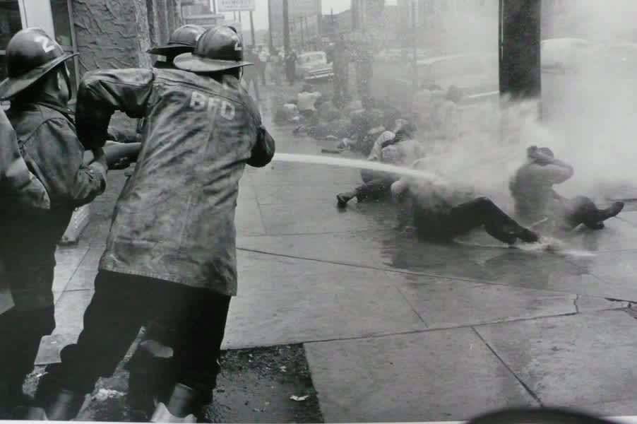 Charles Moore, Birmingham Fire Department with Hoses, 1963
