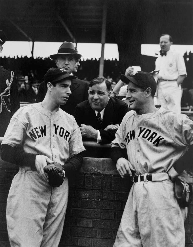 George Brace, Mayor LaGuardia, Joe DiMaggio, Lou Gehrig, c. 1940