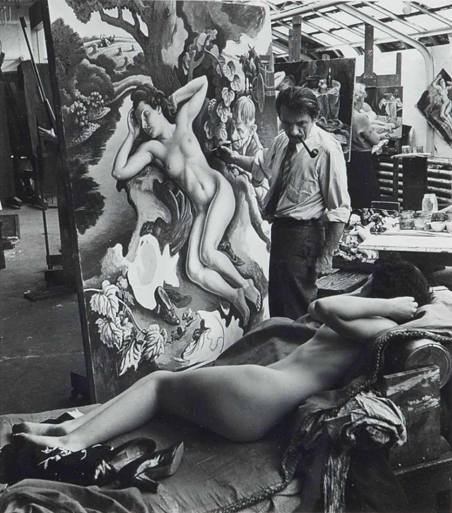 Alfred Eisenstaedt, Thomas Hart Benton painting the rape of Persephone, 1938