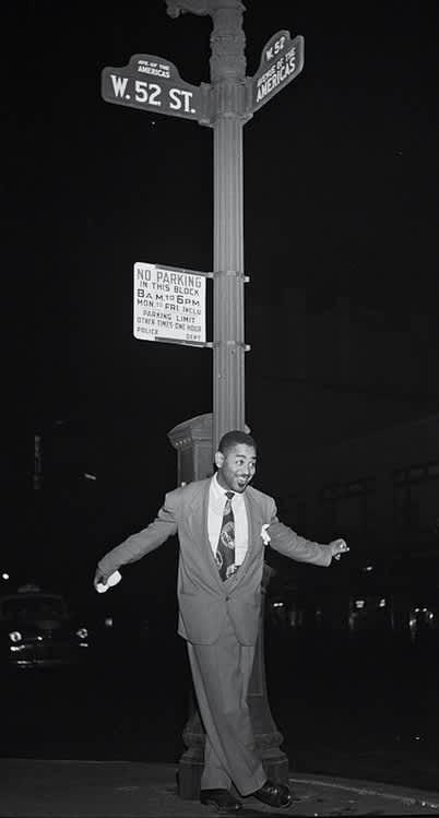 William Gottlieb, Dizzy Gillespie on 52nd Street, NYC, c. 1946