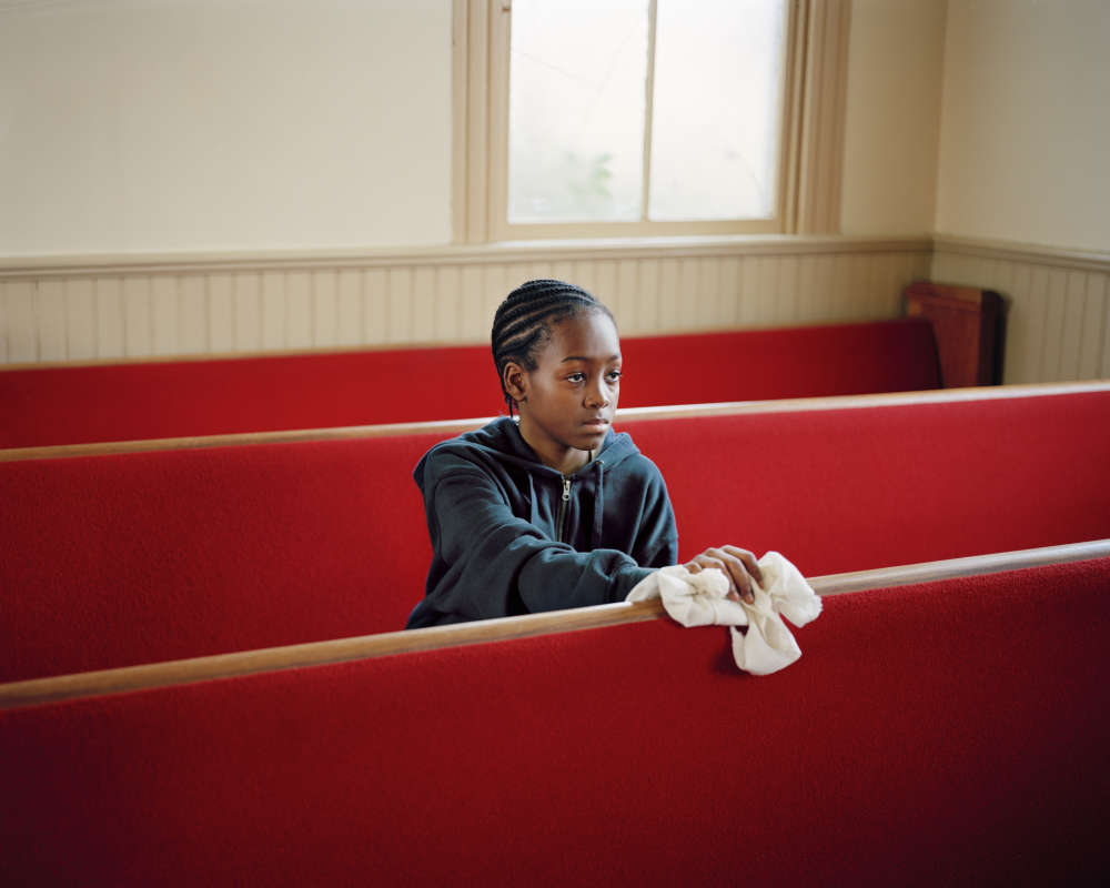 Susan Worsham, Young Boy Cleaning Church, VA, 2011