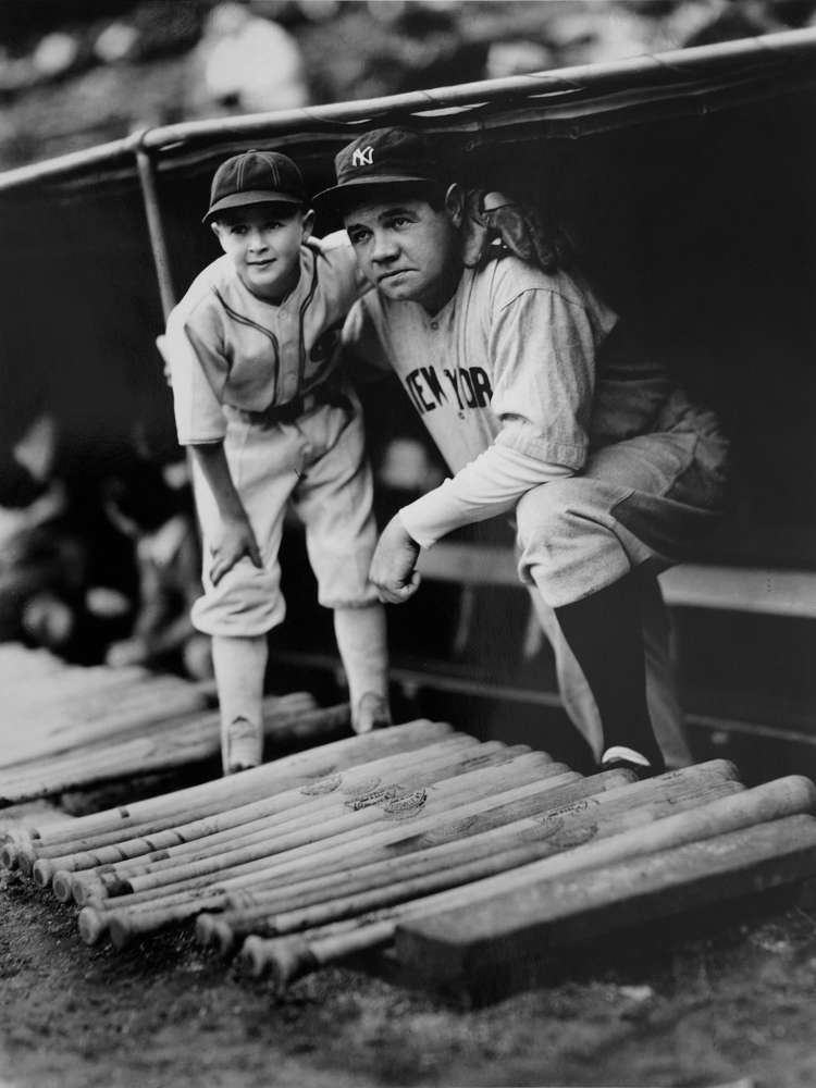 George Brace, Babe Ruth with White Sox Bat Boy, c. 1940