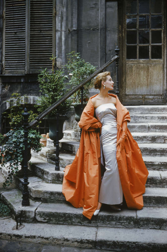 Mark Shaw, Model in Givenchy gown in a Paris Courtyard, 1955