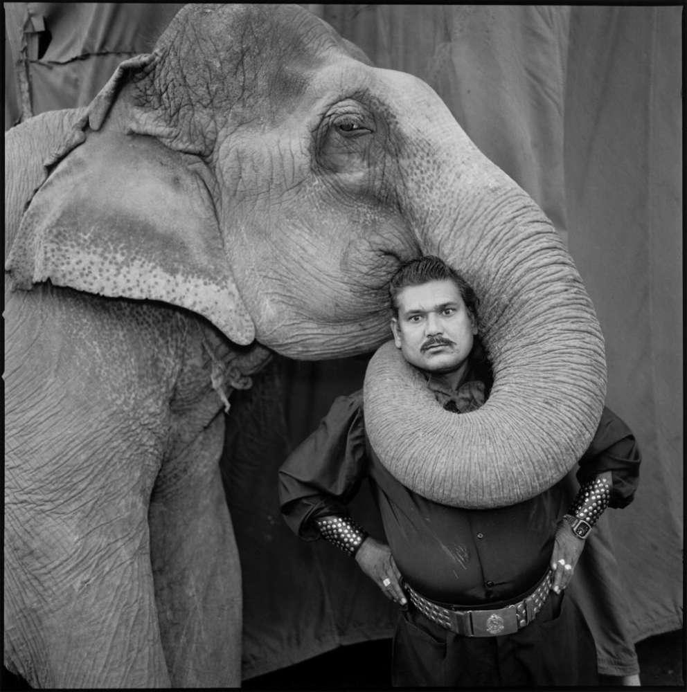 Mary Ellen Mark, Ram Prakash Singh with His Elephant Shyama, Great Golden Circus, Ahmedabad, India, 1990