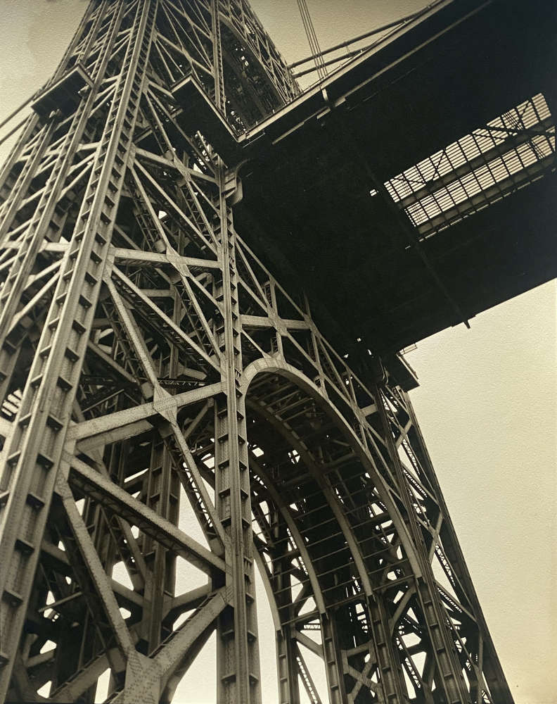 Berenice Abbott, NORTH OF 59TH: George Washington Bridge, Riverside Drive and 179th Street, Manhattan, January 17, 1936