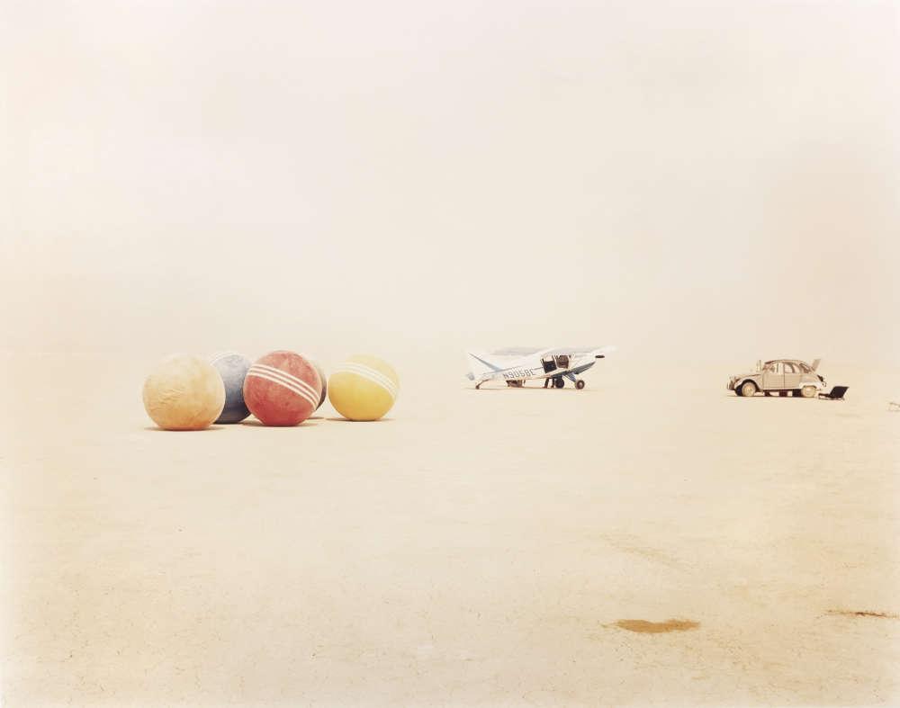 Richard Misrach, Desert Croquet #3 (Balls, Plane, Car), Black Rock Desert, Nevada, 1987