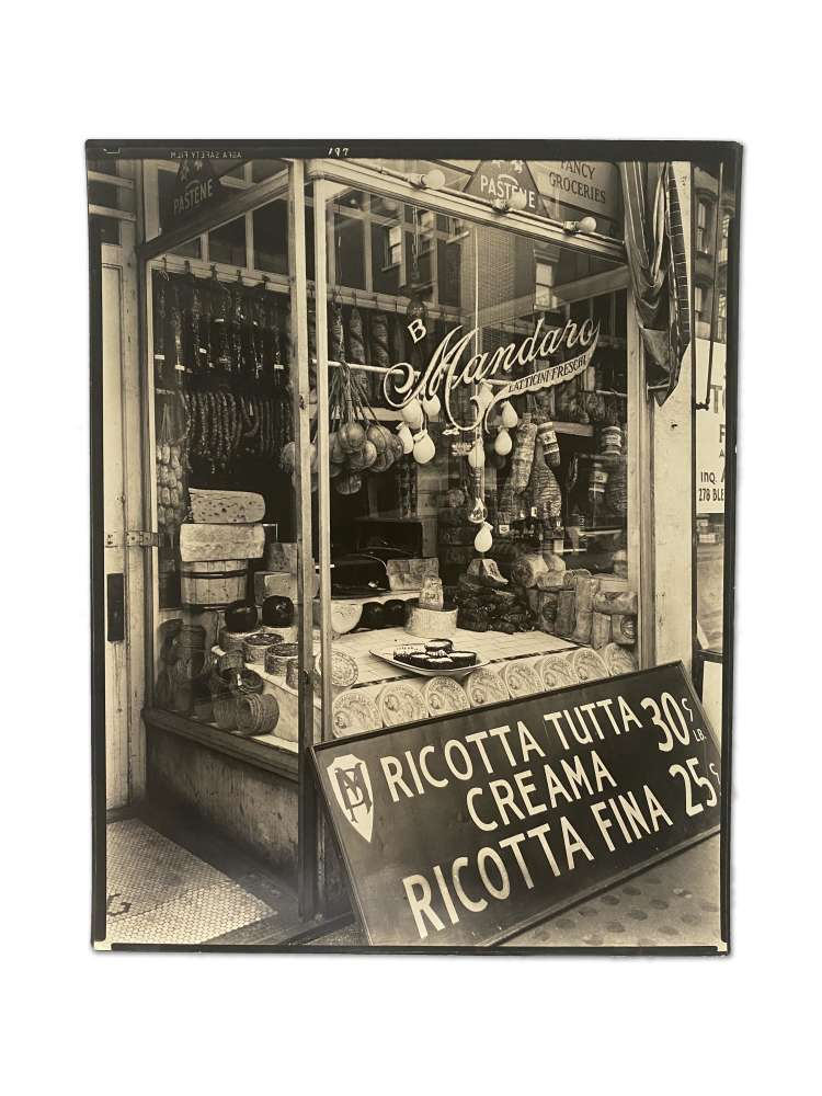 Berenice Abbott, GREENWICH VILLAGE: Cheese Store, 276 Bleecker Street, Manhattan, February 2, 1937