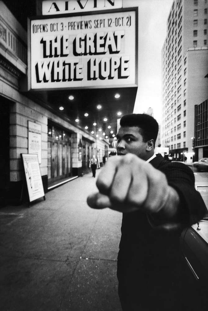 Bob Gomel, Boxing champion Muhammad Ali posing in front of the Alvin Theater during production of play