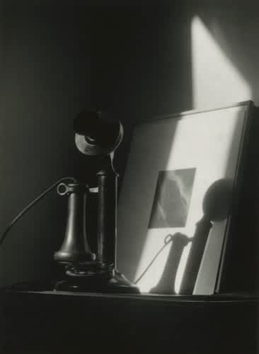 Dorothy Norman, An American Place - 1930s, Phone, Shadow, Stieglitz Equivålent in Background, c. 1930
