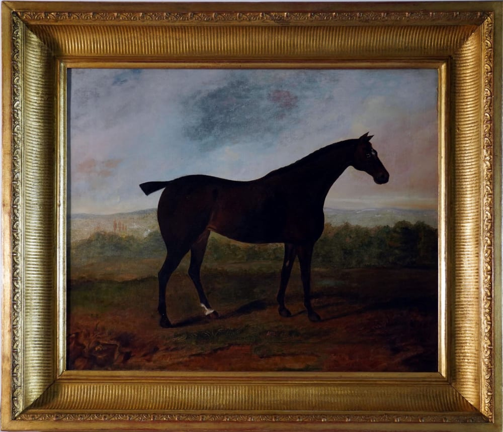 A horse in a landscape by David Dalby of York