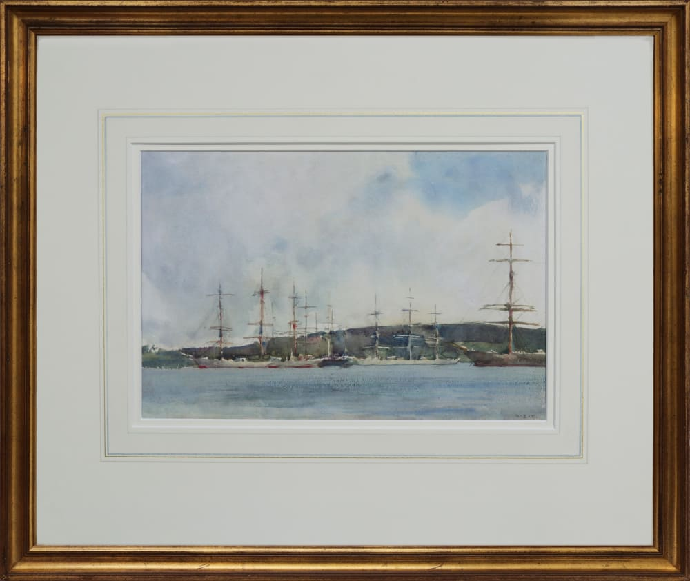 Shipping at Anchor, Falmouth in frame, by Henry Scott Tuke