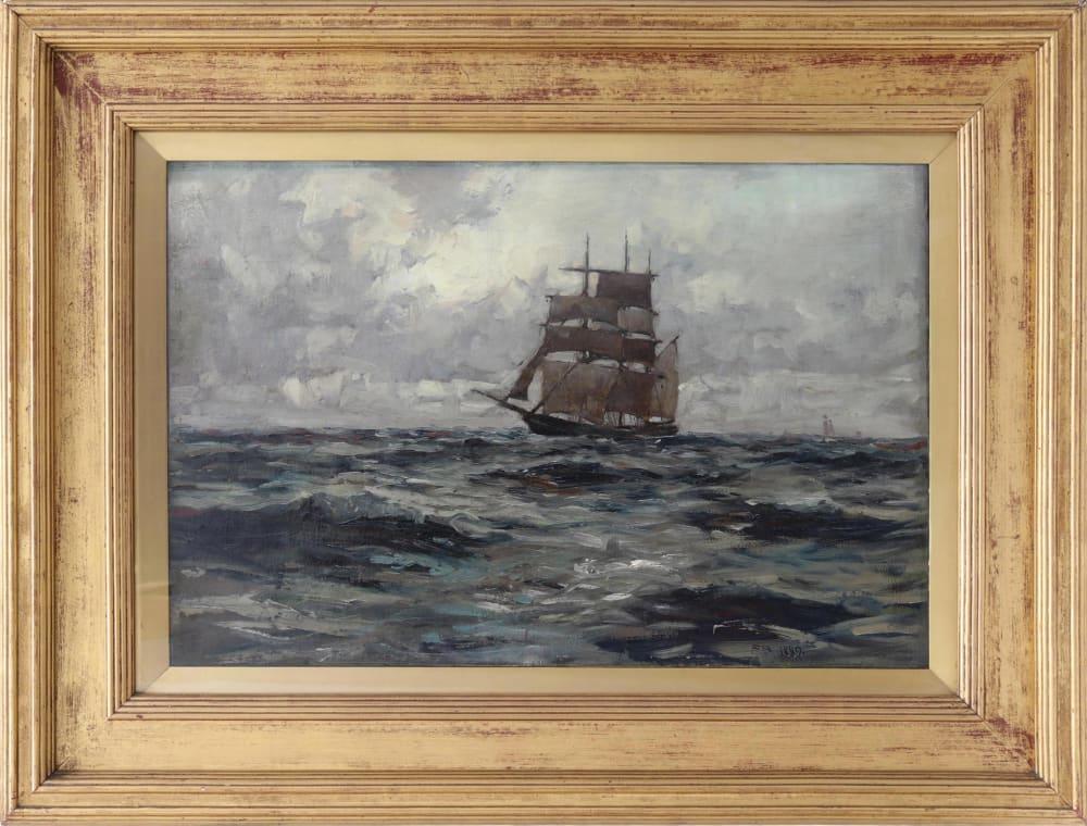 Shipping in Open Seas 1889, by Frank Brangwyn, in frame
