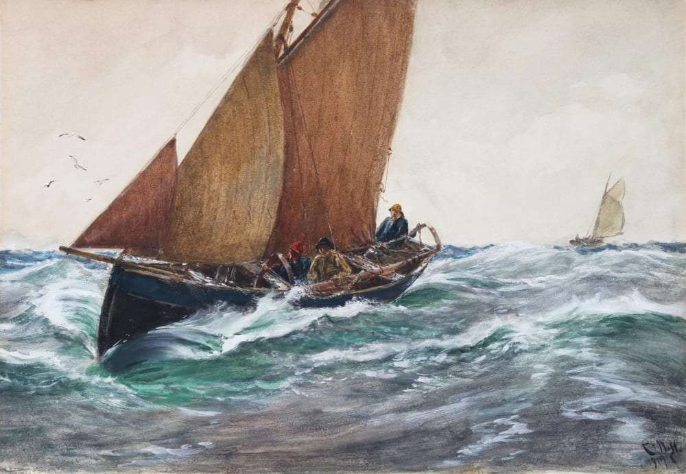 The Little Trawler 1917, by Charles Napier Hemy, in its original RA frame