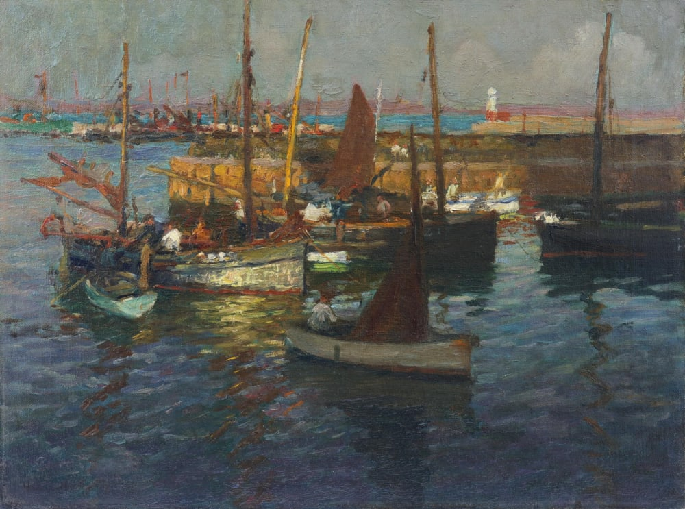 Bringing in the catch, Newlyn Harbour, 1909 by Harold Harvey