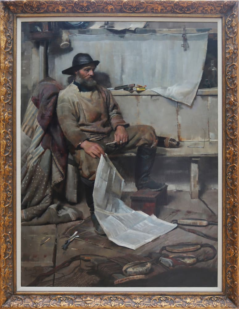 Fisherman Reading 1890 by Frank Richards, in frame