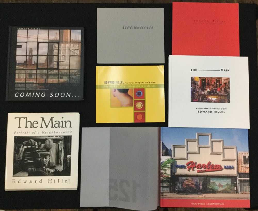 Selection of Edward Hillel's books on dispaly during the exhibition at MMX Gallery, November 2017