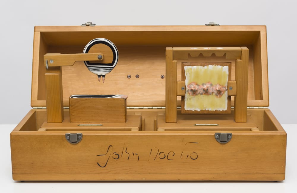 Carl Cheng, Art Tool Paint Experiments, Dip and Drip in Display Box (1972). Wood, paint, metal clasp, 11 x 26 x 9.5 inches.