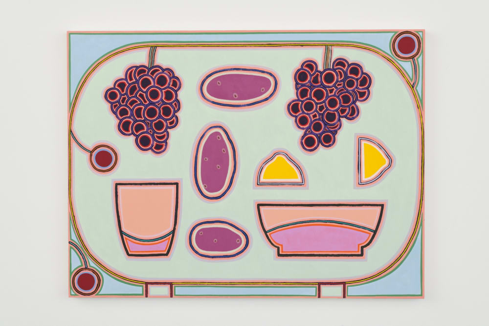 Holly Coulis, Potatoes, Grapes, and a Lemon (2019). Oil on linen, 36 x 48 inches.