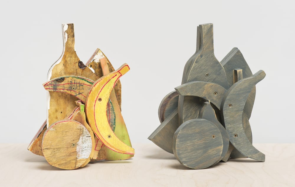 Katy Cowan, Double Still Life (2015). Watercolor, gouache, permanent marker, pastels, latex paint, oil stain, and clear coat on wood, 43 x 18 x 12 inches.