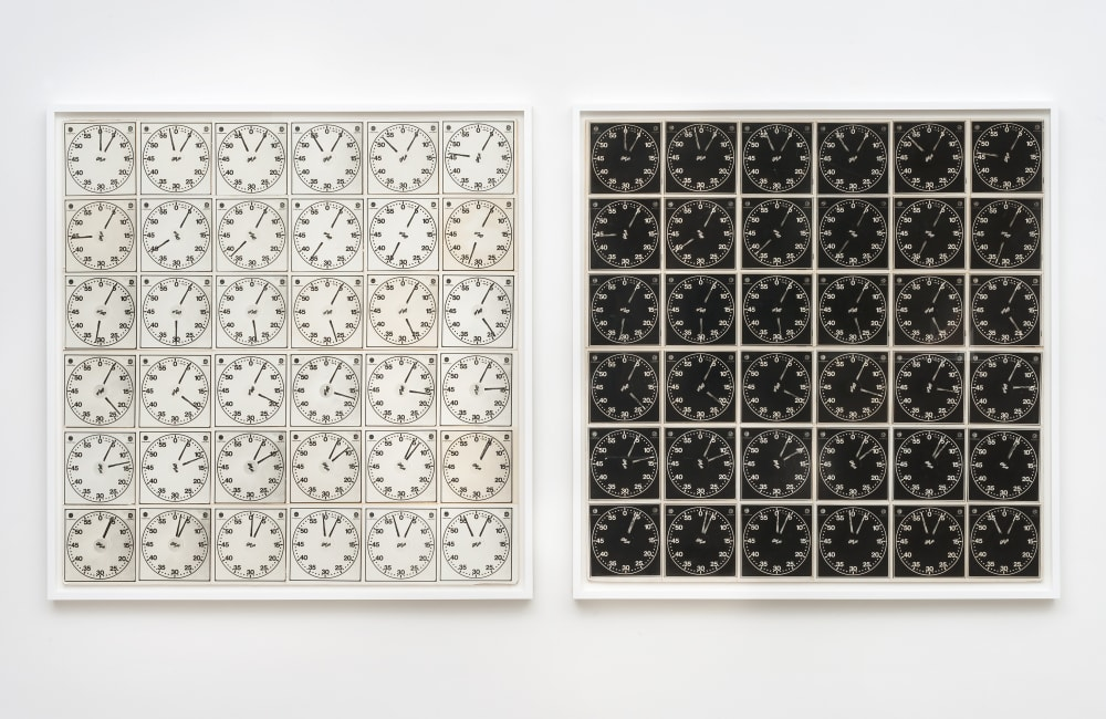Lew Thomas, TIME EQUALS 36 EXPOSURES (negative and positive sections) (1971/2015). 72 gelatin silver prints, each part: 48 x 48 inches framed. Image courtesy of the artist and Philip Martin Gallery, Los Angeles.