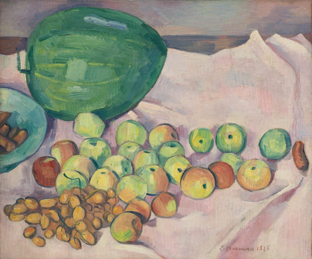 Emile Bernard  Nature morte à la pastèque, 1895  Oil on Canvas  50 x 60 cm  19 11/16 x 23 5/8 inches  Signed and dated lower right