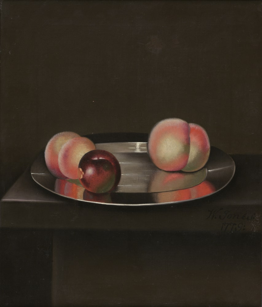 Still Life with Peaches and an apple on a pewter plate