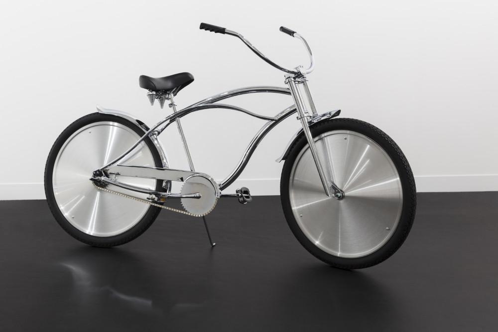 Ann Veronica Janssens Bike, 2001 Chrome coated bike with brushed aluminum wheel caps, helmet 160 x 170 x 51 cm (63 x 66 7/8 x 20 1/8 in) (approx.) Edition of 10