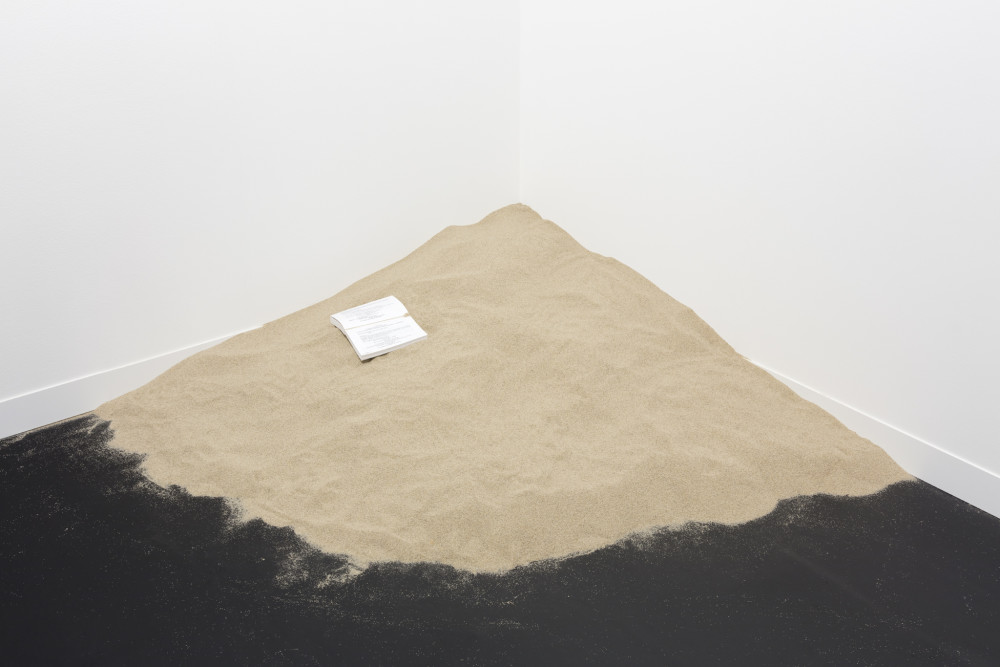 Dominique Gonzalez-Foerster Untitled (Mobile), 2011 Book, quartz sand Dimensions variable (sand pile 60 cm high approx. ) (23 5/8 in)