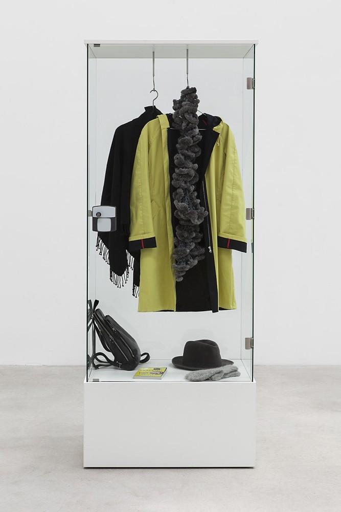 Karin Sander Identities on Display, 2013 Glass, wood, metal, wheels 200 x 60 x 80 cm (78 3/4 x 23 5/8 x 31 1/2 in)