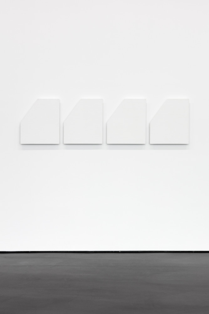 Prabhavathi Meppayil se/hundred and five, 2017 Gesso panel stamped with thinnam 55 x 47 x 5 cm (21 5/8 x 18 1/2 x 2 in) each, 4 panels