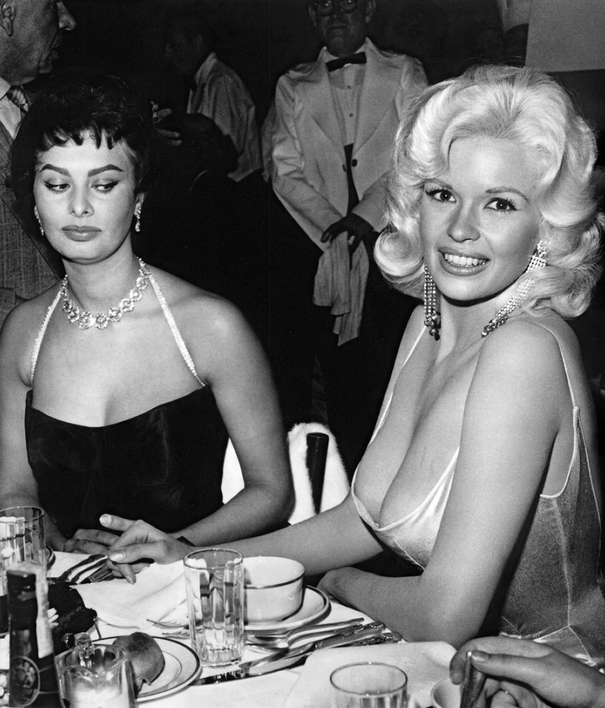 Joe Shere, Jane Mansfield; With Sophia Loren at Romanoff's in Beverly Hills, 1957