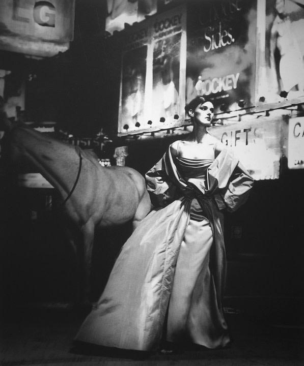 Lillian Bassman, Anneliese Seubert in Times Square, New York, 1997