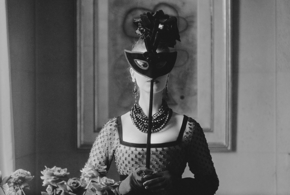 Mark Shaw, Dior, St. Laurent's Mask with Lola Dress, 1958