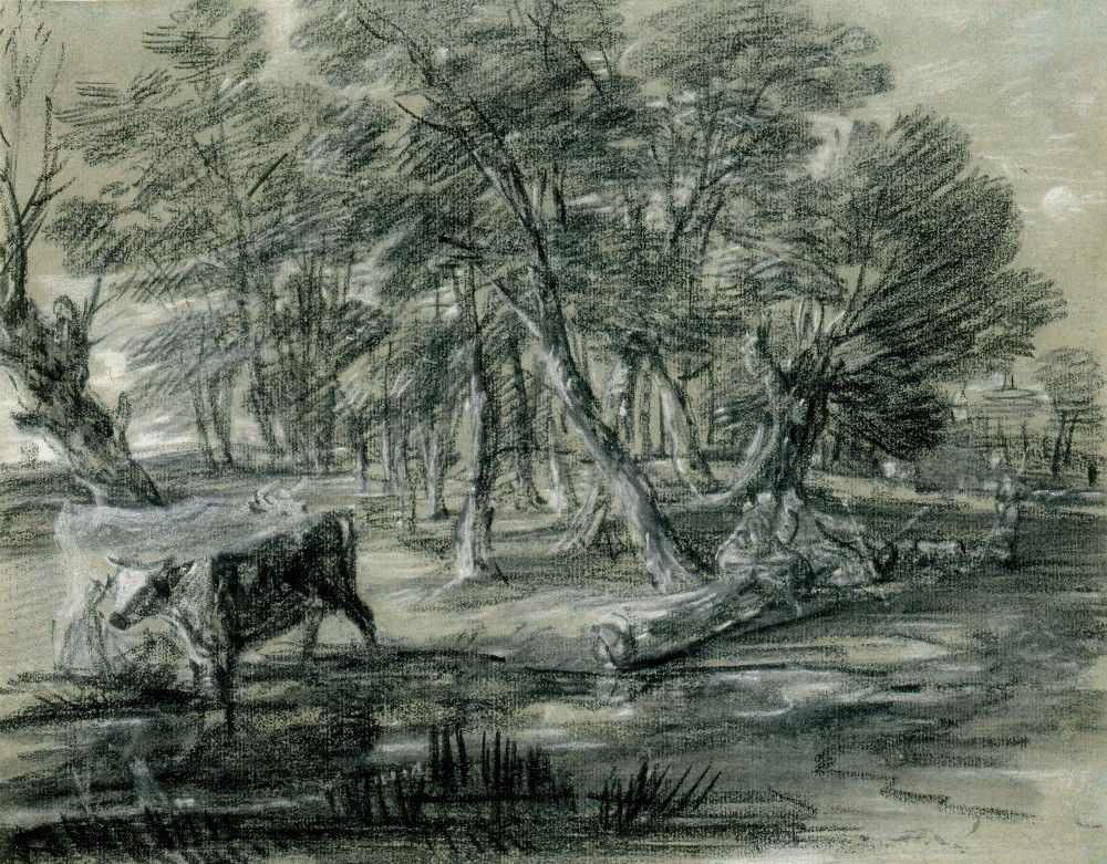 WOODED LANDSCAPE WITH FIGURES AND CATTLE AT A POOL