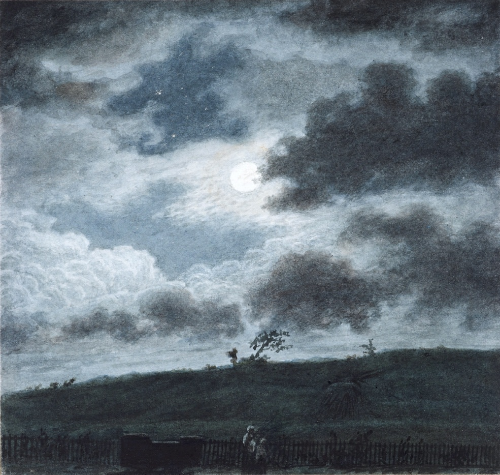 A full Moon on 6th October, 1854 over Cefn Cwsc, Kenfig Hill, Glamorgan