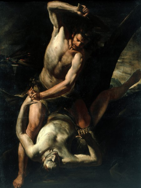 """<div class=""""artist""""><strong>Gioacchino Assereto</strong></div><div class=""""title_and_year""""><em>Cain Slaying Abel</em>, <span class=""""title_and_year_year"""">c. 1640–50</span></div><div class=""""medium"""">Oil on canvas</div><div class=""""dimensions"""">180 x 138 cm (70.8 x 54.3 in.)<br/> With frame: 195 x 154 x 9 cm (76 3/4 x 60 5/8 x 3 1/2 in.)</div>"""
