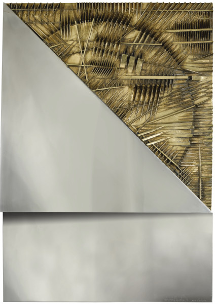 """<div class=""""artist""""><strong>Arnaldo Pomodoro</strong></div><div class=""""title_and_year""""><em>Image of the Dawn (Immagine dell'Alba)</em>, <span class=""""title_and_year_year"""">1974</span></div><div class=""""medium"""">Bronze and steel on wood</div><div class=""""dimensions"""">100 x 70 x 11 cm (39 3/8 x 27 1/2 x 4 3/8 in.)</div><div class=""""edition_details"""">Executed in 1974, this work is an artist's proof aside from the edition of 12.</div>"""