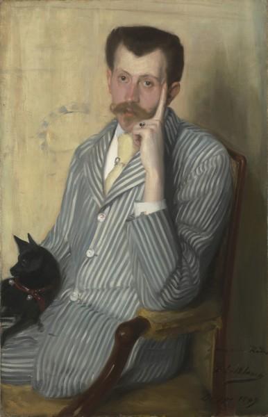 """<div class=""""artist""""><strong>Jacques-Émile Blanche</strong></div><div class=""""title_and_year""""><em>Portrait of Georges de Porto-Riche</em>, <span class=""""title_and_year_year"""">1889</span></div><div class=""""medium"""">Oil on canvas</div><div class=""""dimensions"""">100 x 65 cm (39 3/8 x 25 5/8 in.)</div>"""