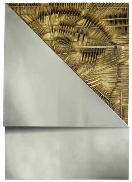"<div class=""artist""><strong>Arnaldo Pomodoro</strong></div><div class=""title_and_year""><em>Immagine dell'Alba</em>, 1974</div><div class=""medium"">bronze and steel on wood</div><div class=""dimensions"">100 x 70 x 11 cm / 39 3/8 x 27 1/2 x 4 3/8 in.</div><div class=""edition_details"">Executed in 1974, this work is an artist's proof aside from the edition of 12.</div>"