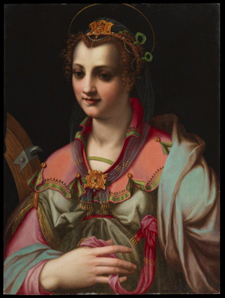 """<div class=""""artist""""><strong>Francesco Morandini, Called Il Poppi</strong></div><div class=""""title_and_year""""><em>Saint Catherine of Alexandria</em>, <span class=""""title_and_year_year"""">1570s</span></div><div class=""""medium"""">Oil on panel</div><div class=""""dimensions"""">87.2 x 65.4 cm / 34 3/8 x 25 3/4 in.</div>"""
