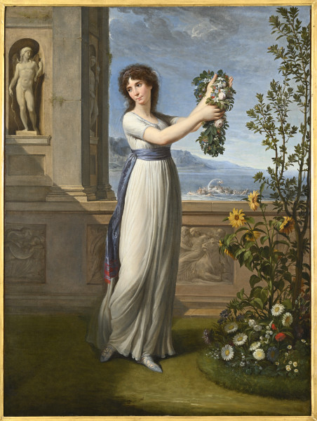 """<div class=""""artist""""><strong>Andrea Appiani</strong></div><div class=""""title_and_year""""><em>Josephine Bonaparte Crowning the Myrtle Tree</em>, <span class=""""title_and_year_year"""">1796</span></div><div class=""""medium"""">Oil on canvas</div><div class=""""dimensions"""">98 x 73.5 cm (38 5/8 x 29 in.)<br/> With frame: 125 x 100 cm (49 1/4 x 39 3/8 in.)</div>"""