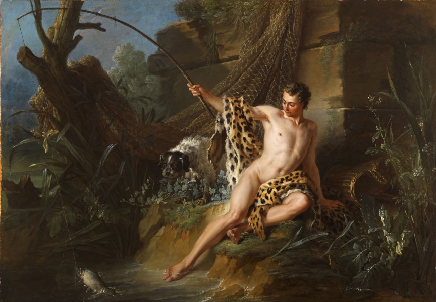 """<div class=""""artist""""><strong>Jean-Baptiste Oudry</strong></div><div class=""""title_and_year""""><em>The Fisherman and the Little Fish from Fontaine's Fables</em>, <span class=""""title_and_year_year"""">1739</span></div><div class=""""medium"""">Oil on canvas</div><div class=""""dimensions"""">172.8 x 122 cm (68 1/8 x 48 1/8 in.)<br/> With frame: 202 x 150 x 9 cm (79 1/2 x 59 1/8 x 3 1/2 in.)</div>"""