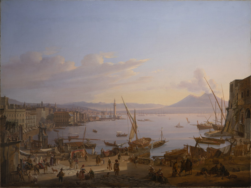 """<div class=""""artist""""><strong>Frans Vervloet</strong></div><div class=""""title_and_year""""><em>View of Naples with the Lighthouse, and Vesuvius Beyond</em>, <span class=""""title_and_year_year"""">1830</span></div><div class=""""medium"""">Oil on canvas<br/> </div><div class=""""dimensions"""">59 x 77 cm (23 1/4 x 30 1/4 in.)</div>"""
