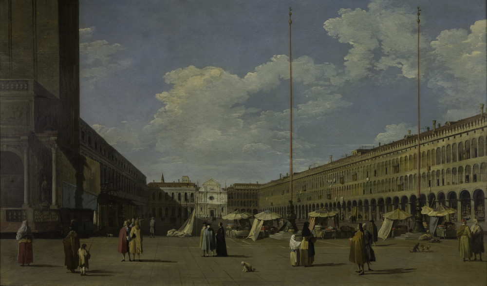 """<div class=""""artist""""><strong>Antonio Canal, called Canaletto, and Workshop</strong></div><div class=""""title_and_year""""><em>Venice: Piazza San Marco looking west towards San Geminiano</em>, <span class=""""title_and_year_year"""">c. 1733–36</span></div><div class=""""medium"""">Oil on canvas</div><div class=""""dimensions"""">66 x 122 cm (26 x 48 1/8 in.)</div>"""