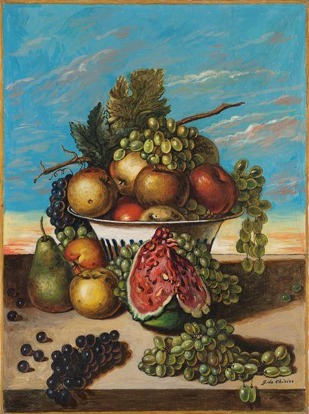 "<div class=""artist""><strong>Giorgio de Chirico</strong></div><div class=""title_and_year""><em>Still Life with Fruit</em>, <span class=""title_and_year_year"">mid-1960s</span></div><div class=""medium"">Oil on canvas </div><div class=""dimensions"">80 x 60 cm (31 1/2 x 23 5/8 in.)</div>"